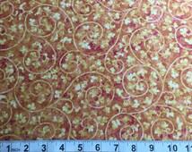 SALE! Bittersweet by Nancy Halvorsen for Benartex Gold Burgundy Swirls Style 2099