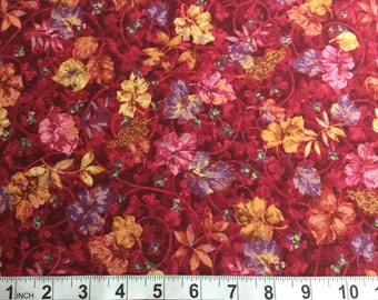 SALE! Bittersweet by Nancy Halvorsen for Benartex Pink Purple Gold Leaves  Style 2092