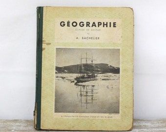 French geography text book from 1951 - Geography school book - Vintage school book geography - Collectible historical book, Educational book
