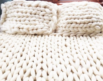 Chunky Knit Pillow Shams, Arm Knit, Merino Wool, Giant Knit