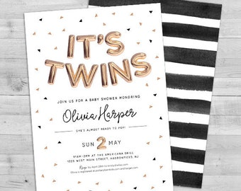 Twins Baby Shower Invites, Baby Shower Invitation Twins, Twins Baby Shower Invitation, Twins Gender Neutral Baby Shower Invitations Twins