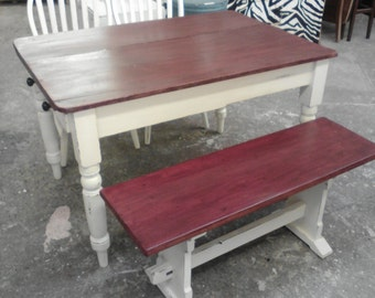 Farmhouse style dining table two chairs and bench,dining table with bench, vintage dining, french dining, cottage dining, shabby chic dining