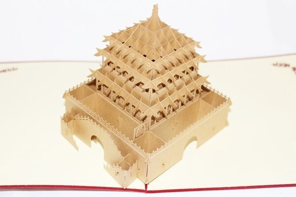 3D Chinese Temple Pop Up Card, Pop Up Greeting Card, Ha