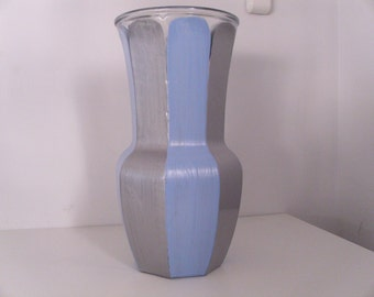 """10"""" hand painted serenity blue and silver metallic glass vase"""
