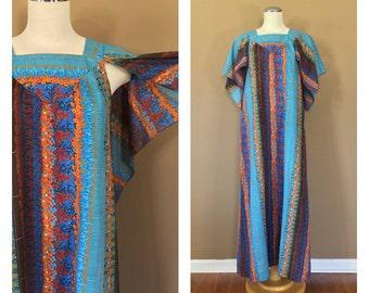 70s Maxi Dress / Vintage 90s Dress/ Vintage Floral Dress / Grunge Dress / Floral Summer Dress / 80s Clothing / 70s clothing