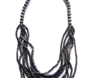Brown Multi-Layered Beaded Necklace