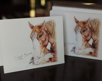 Original Equestrian Drawings Adorning Ten 3.5 X 5 inch Folded Blank Note Cards