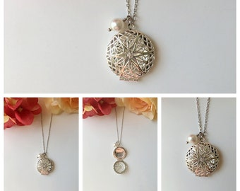 Silver Lace with Pearl Locket Necklace.