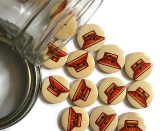 10 Pieces Red Orange Hat Wood Button.