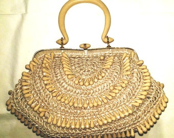 Lovely Vintage Beaded Handbag Purse - Made in Italy 1950's, 1960's