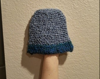 Light and dark blue hand crocheted baby beanie/hat, keep your baby's head nice and warm.
