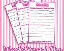 Bridal Libs / Bridal Shower Libs / Bridal Shower Game - Printable