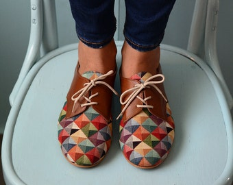 Multicolored Shoes -Leather shoes-Oxford flat Shoes-Women Shoes- Flat Shoes -Brown Leather Shoes-Unique Shoes-Handmade shoes-closed shoes