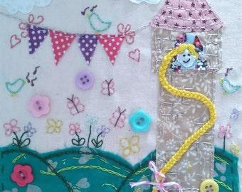 Girls Birthday Card, Princess Tower Birthday Card, Personalised Birthday Card, Hand Stitched Card