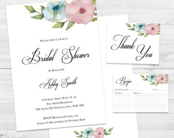Bridal Shower Invitation, Floral Bridal Shower Invite, Thank You Cards, Bridal Shower Kit, Recipe Card