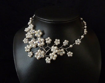 """Bridal Necklace """"Pearlflower"""""""