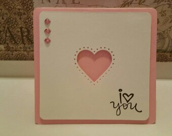 Sweet pink and white love card