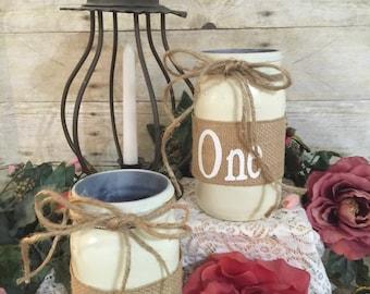 Rustic mason jar table numbers