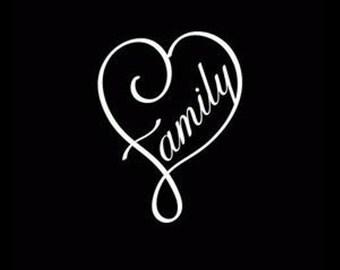 Family Love Curl Heart Vinyl Decal