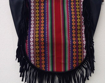 Leather with fringes bag with hand embroidery