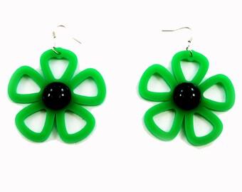Laser Cut Earrings, 60's Vintage Look Earrings, Retro Mod Flower Power Jewelry
