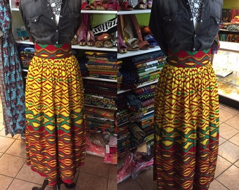 African print high waisted skirt