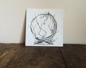 Natural Earth- Ink Art, Ink Drawing, Canvas Art, Pen and Ink Drawing, Original Drawing