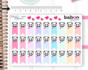 Kawaii Panda Stickers Cute Panda Stickers Flags Stickers Planner Stickers Hand Drawn Stickers Functional Stickers Decorative Stickers NR778