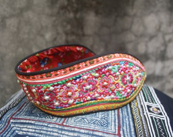 Flat Vegan Womens Sandals In Colorful Hmong Embroidery Amp Deep