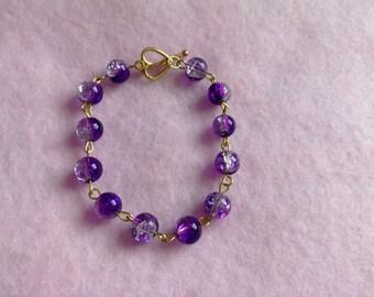 Gold Purple Beaded Bracelet.