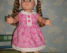 """Handmade 18"""" doll dress, Doll dress for 18"""" doll, Handmade doll clothes,  Pink dress for 18"""" doll"""