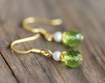 Tiny Peridot Earrings, Gold Vermeil Jewelry, Green Gemstone
