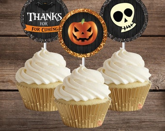 Halloween Digital Cupcake Toppers, Printable Halloween Party Decoration, Instant Download, Halloween Birthday, Halloween Party