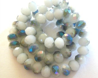 Half Plated Imitation White Jade Faceted Flat Round Glass Beads 8mm (B107g)