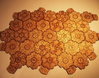 Interlocking settlers of catan board, with printed design