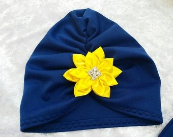 Turban and scarf blue with yellow satin bow
