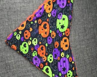 Purple or orange punk skull bandana baby bib dribble bib