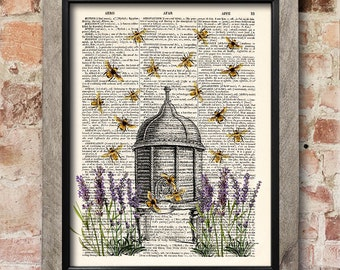 Beehive Art Honey Bee Decor Lavender Kitchen Gift Vintage Print