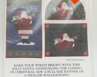1992 Christmas is coming Sew Pattern A FULL-SIZE Banner Or Wallhanging by Jan Kornfeind Country Appliques