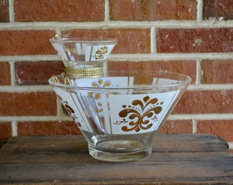 Midcentury Modern Bowl, Gold Chip and Dip, Midcentury Bowl, Punch Bowl, Fleur de Lis