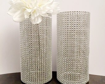 Bling Rhinestone Centerpieces (Set of 2) Bling Vases-Wedding, Birthday, Baby Shower, Sweet 16  Floral Vases for all occasions.