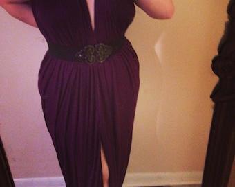 Deep V jersey evening gown
