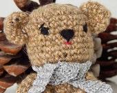 Crochet tiny teddy bear with scarf, amigurumi toy or kid's room decoration
