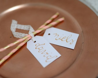 Personalized gift tags, GOLD, 10 units, A set of 10, free shipping gift tags, favor tags, no shipping costs