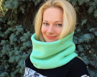 Hand knit scarf hood cowl scarf mint green color wool scarf neck warmer knit infinity scarf knit snood hooded scarf gift for her cowl hood