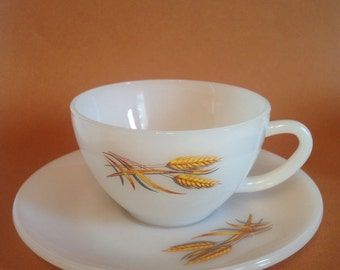 FireKing wheat pattern cup and saucer