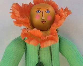 Orange Poppy Flower Doll