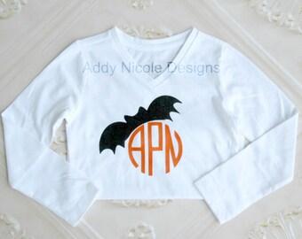 Halloween Shirt, Monogram Bat Shirt Shirt, Monogram Halloween Shirt, Baby Girls Clothes, Toddler Girls Clothes