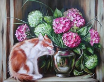 Cat and hydrangea Oil painting cat ang flowers