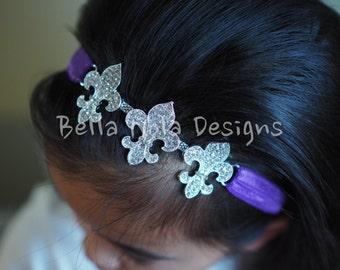 Rhinestone Fleur de Lis stretchy headband